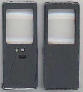 Lupe i sort og stål med UV lys og meget bra Led lys. Også 2 ledlys i front.