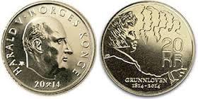 20 kroner 2014 jubileumsmynt - Grunnlovsjubileet. Kval 0