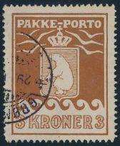 Grønland PP Afa 12 - 3 kroner rund stpl. Grønlands Styrelse (1400)