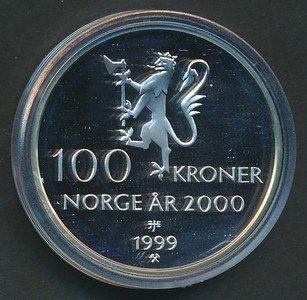 100 kr 1999 Tusenårsmynten i etui med sertfikat.Proof.