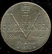 Bilde av 25 kroner 1970 - Kval 0. Foto ex.