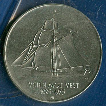 5 kroner 1975 Utvandrer - jubileum - Foto ex.