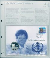 Bilde av SH myntbrev nr. 34 Gro Harlem Brundtland 60 år 1999